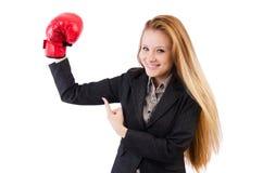Mulher de negócios da mulher com luvas de encaixotamento Imagens de Stock Royalty Free