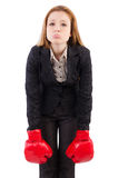 Mulher de negócios da mulher com luvas de encaixotamento Imagem de Stock Royalty Free