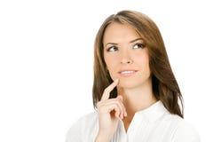 Mulher de negócios de pensamento, no branco fotos de stock