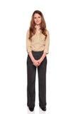 Mulher de negócios de sorriso - comprimento cheio da vista dianteira Imagem de Stock
