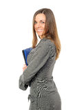 Mulher de negócios de sorriso feliz nova foto de stock