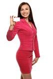 Mulher de negócios de sorriso no revestimento imagens de stock