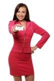 Mulher de negócios de sorriso no revestimento imagem de stock royalty free