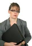 Mulher de negócios Dejected com portátil imagens de stock royalty free