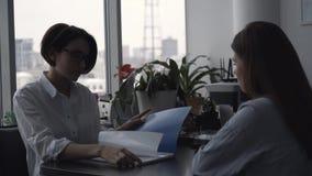 A mulher de negócios discute regras do contrato com o candidato de trabalho da mulher e olha através de seu portfólio Close-up vídeos de arquivo