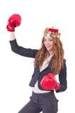 Mulher de negócios do pugilista da rainha Imagens de Stock