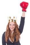 Mulher de negócios do pugilista da rainha Imagem de Stock