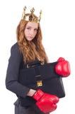 Mulher de negócios do pugilista da rainha Fotos de Stock Royalty Free