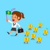 A mulher de negócios dos desenhos animados do conceito do negócio que anda com dinheiro inventa Imagem de Stock