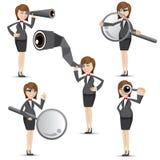 Mulher de negócios dos desenhos animados em encontrar o gesto Imagens de Stock Royalty Free