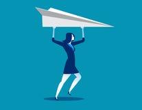 Mulher de negócios e aviões de papel Imagens de Stock
