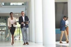 Mulher de negócios e homem de negócios que interagem um com o otro ao andar no escritório da entrada imagens de stock royalty free