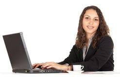 Mulher de negócios e portátil imagem de stock
