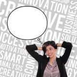 Mulher de negócios e projeto da bolha do pensamento ilustração royalty free