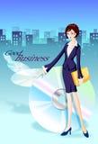 Mulher de negócios e skyline Foto de Stock