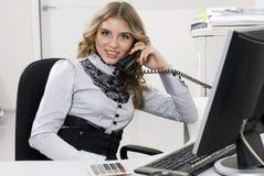 Mulher de negócios e telefone Fotografia de Stock