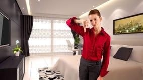 Mulher de negócios em um hotel Fotos de Stock