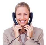 Mulher de negócios em uma comunicação Fotografia de Stock Royalty Free