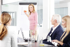Mulher de negócios envelhecida meio que apresenta a ideia nova fotos de stock royalty free