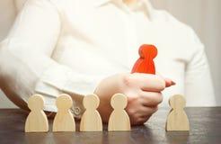 A mulher de negócios escolhe uma pessoa da multidão Team Management Seleção do empregado Recursos humanos Trabalhador talentoso E fotos de stock