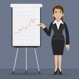 A mulher de negócios especifica no flipchart Imagem de Stock