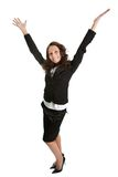 Mulher de negócios Excited que comemora o sucesso Fotografia de Stock Royalty Free