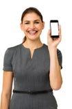 Mulher de negócios feliz Advertising Smart Phone Foto de Stock