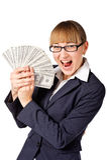 Mulher de negócios feliz com dólares Imagens de Stock Royalty Free