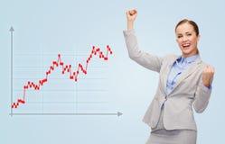 Mulher de negócios feliz com mãos acima Imagem de Stock Royalty Free