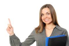 Mulher de negócios feliz que aponta no espaço da cópia Foto de Stock Royalty Free