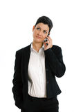 Mulher de negócios feliz que chama isolada Fotos de Stock