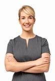 Mulher de negócios feliz Standing Arms Crossed Fotografia de Stock Royalty Free