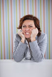 Mulher de negócios forçada irritada Imagem de Stock