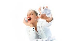 Mulher de negócios irritada Fotos de Stock Royalty Free