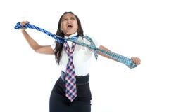 Mulher de negócios irritada com três gravatas. Fotos de Stock Royalty Free