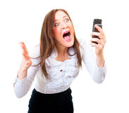 Mulher de negócios irritada que grita Imagem de Stock Royalty Free
