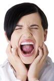 Mulher de negócios irritada que grita foto de stock royalty free