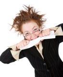 A mulher de negócios louca quebra o contrato Imagem de Stock Royalty Free