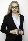 Mulher de negócios loura no fundo branco Fotografia de Stock Royalty Free