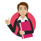 A mulher de negócios mostra o polegar acima no círculo Foto de Stock Royalty Free