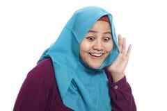 Mulher de negócios muçulmana Hearing Gesture fotos de stock
