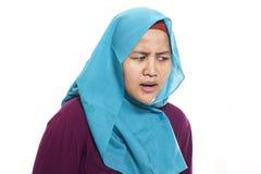 Mulher de negócios muçulmana Hearing Gesture imagem de stock royalty free