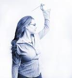 Mulher de negócios no azul fotografia de stock royalty free