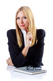 Mulher de negócios no branco Fotografia de Stock Royalty Free