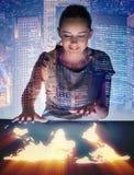A mulher de negócios no conceito do negócio global Foto de Stock Royalty Free