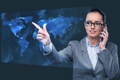 A mulher de negócios no conceito do negócio global Imagem de Stock Royalty Free