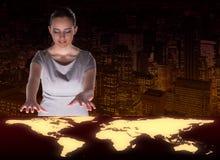 A mulher de negócios no conceito do negócio global Foto de Stock