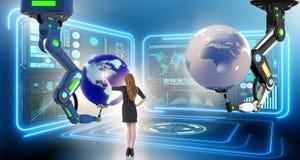 A mulher de negócios no conceito futurista do negócio global Fotos de Stock Royalty Free