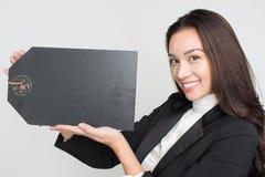 Mulher de negócios no fundo branco imagem de stock