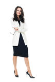 Mulher de negócios no fundo branco Fotos de Stock Royalty Free